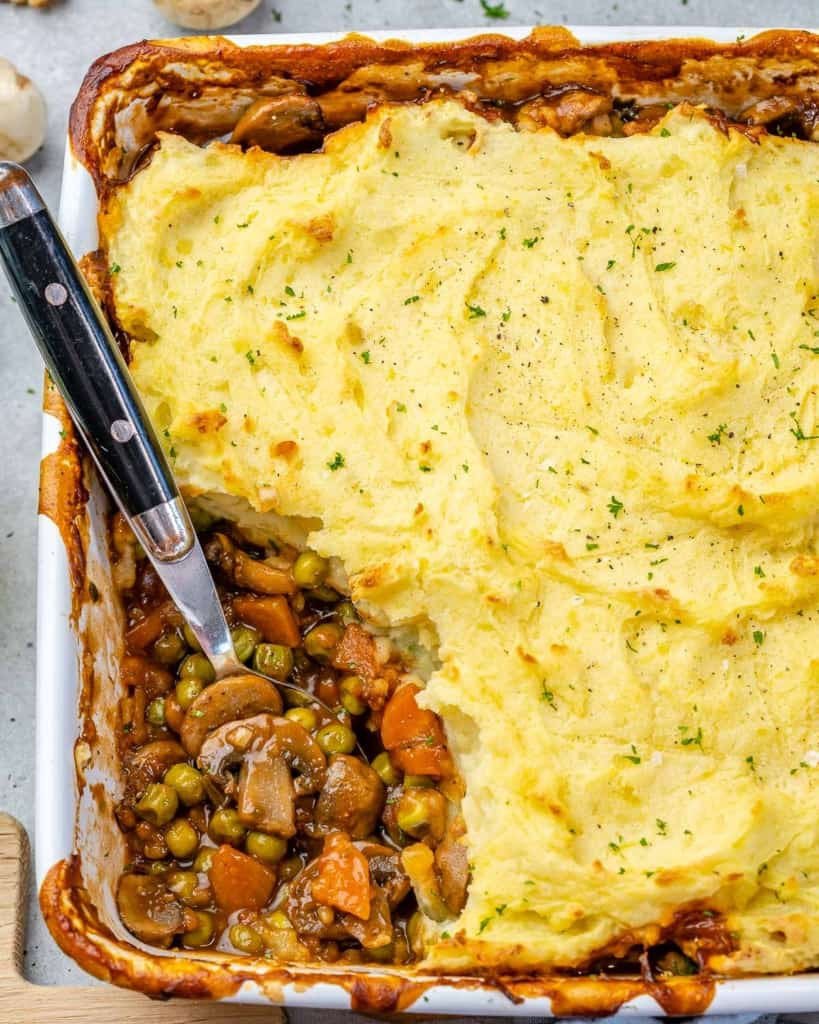 top view shepherds pie with potatoes