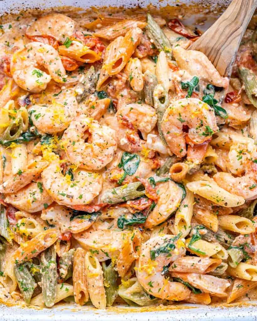 close up baked feta pasta dish