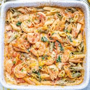baked feta pasta with shrimp
