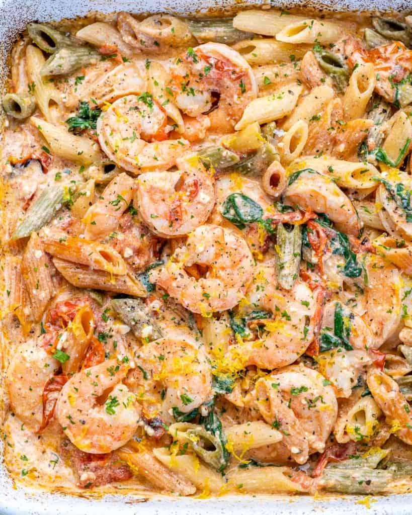 close up baked feta pasta