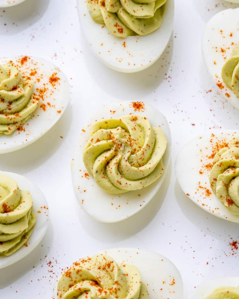 top view image of deviled eggs
