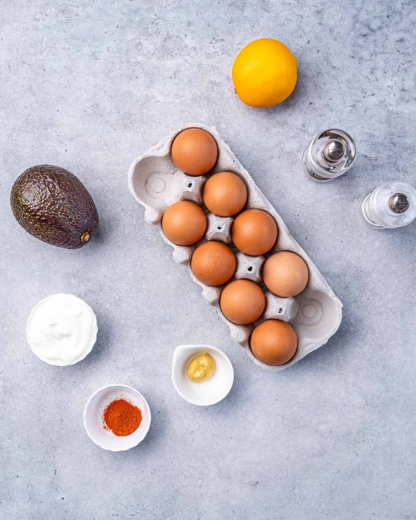 ingredients to make the avocado deviled eggs