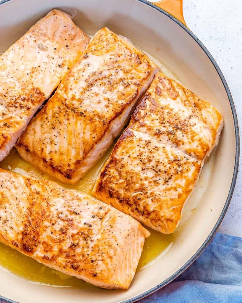 pan seared salmon fillet in a pan