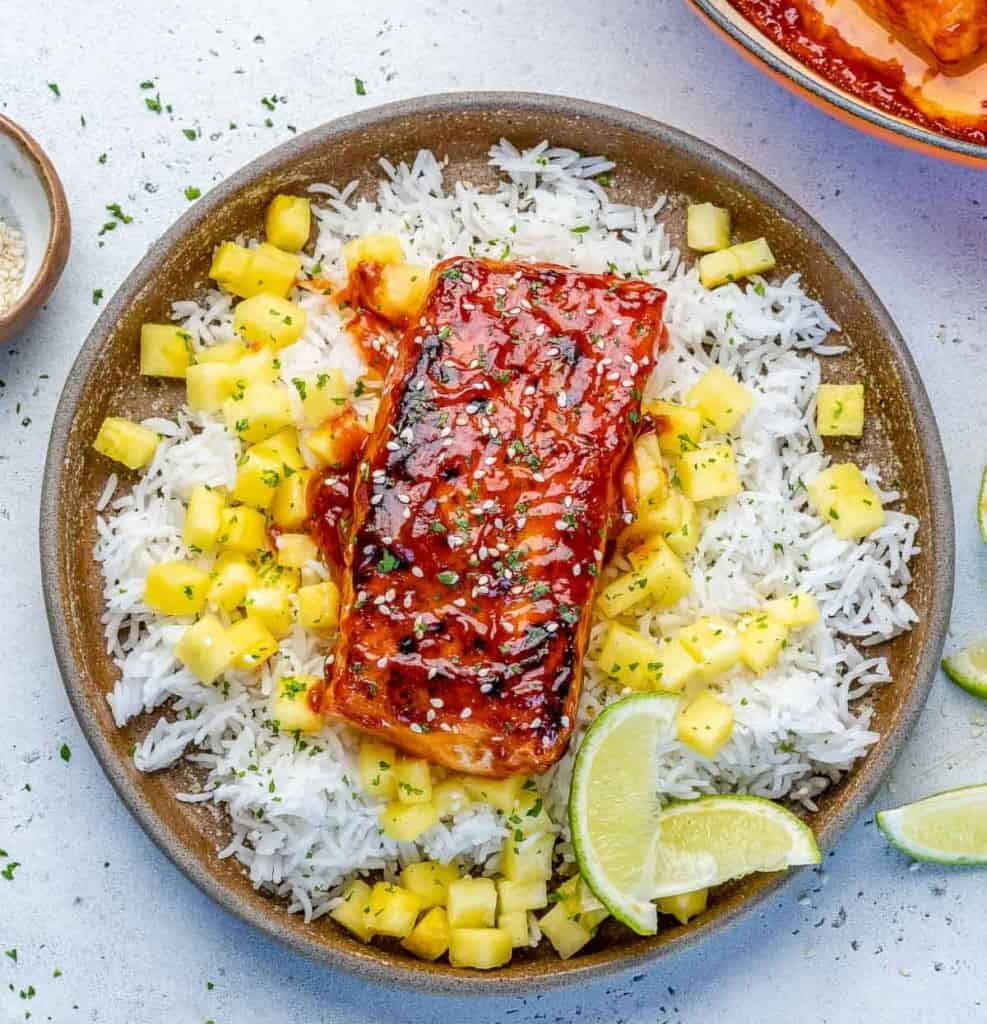top view of bbq salmon over white rice