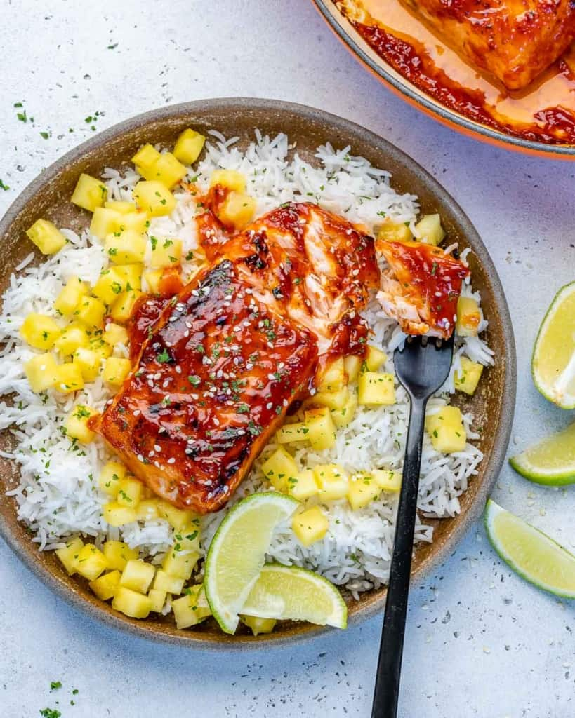 top  view salmon over rice in a bowl
