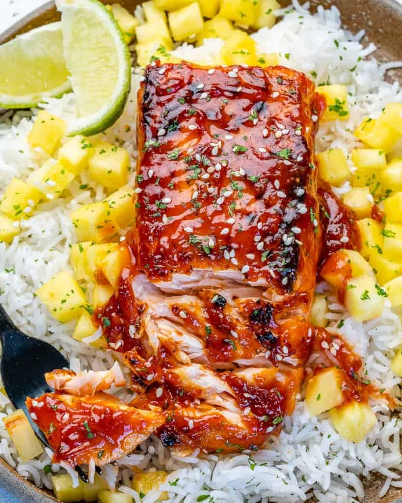 top view bbq salmon with rice