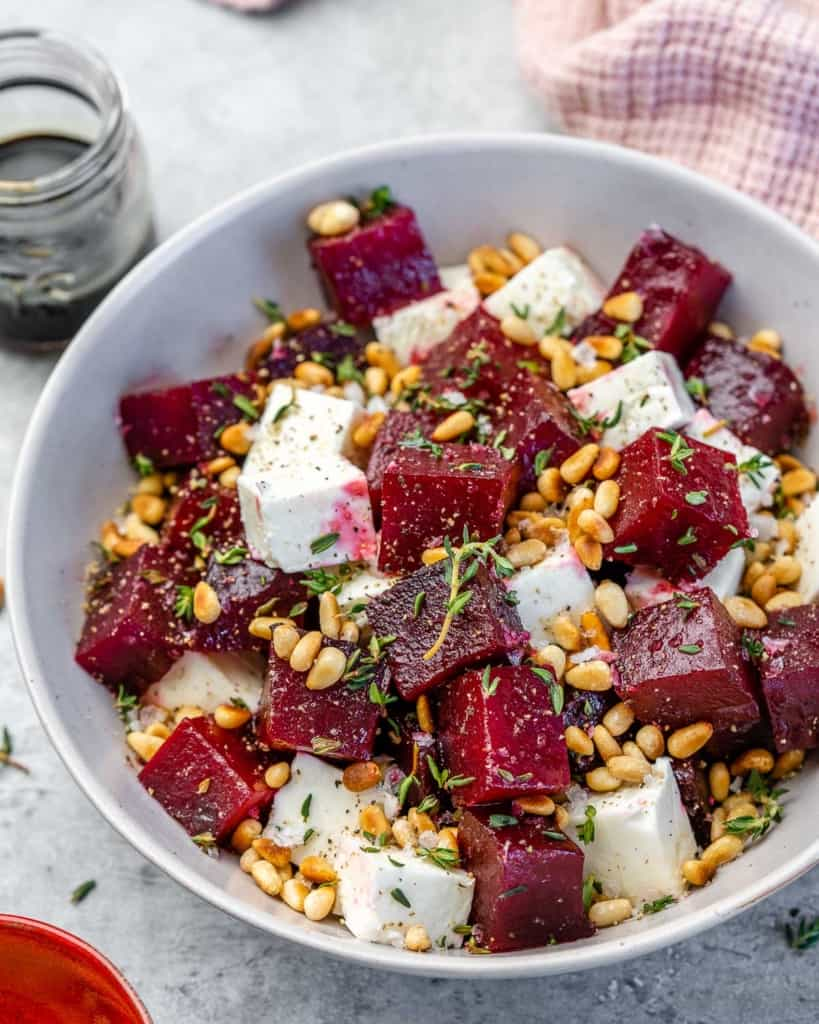Top view of roasted beet salad