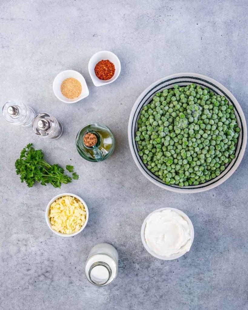 ingredients to make creamed peas side dish recipe