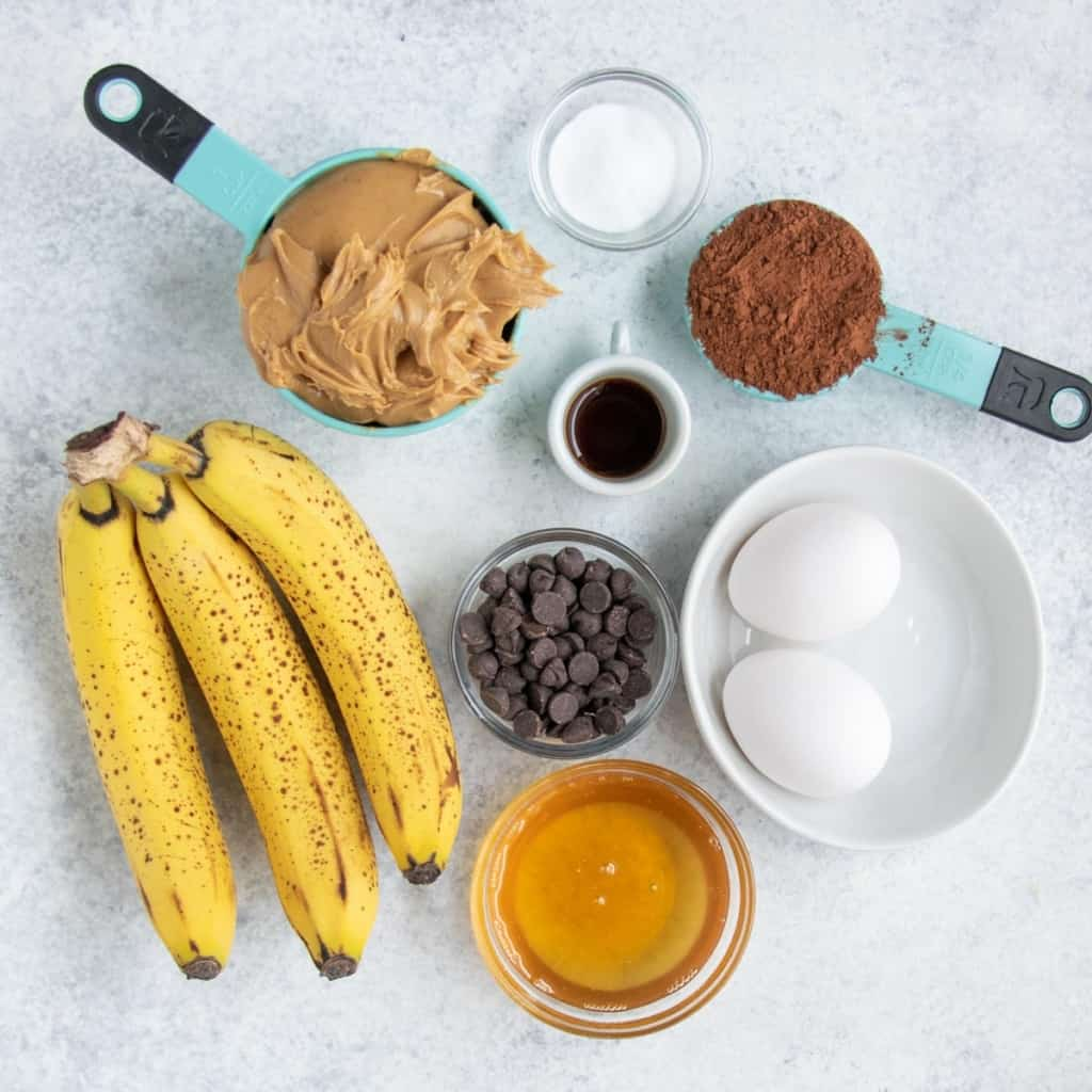ingredients to make chocolate muffins