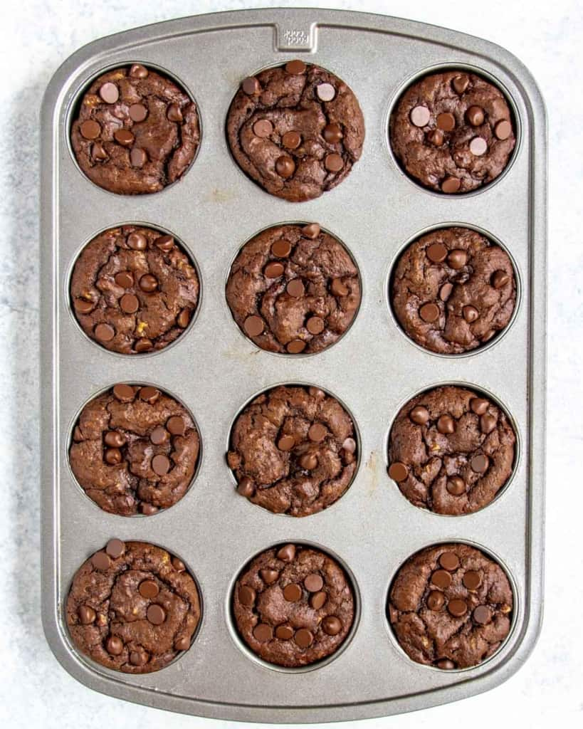 top view of baked muffins in a pan