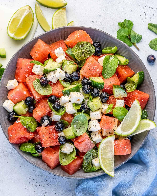 top view watermelon feta salad
