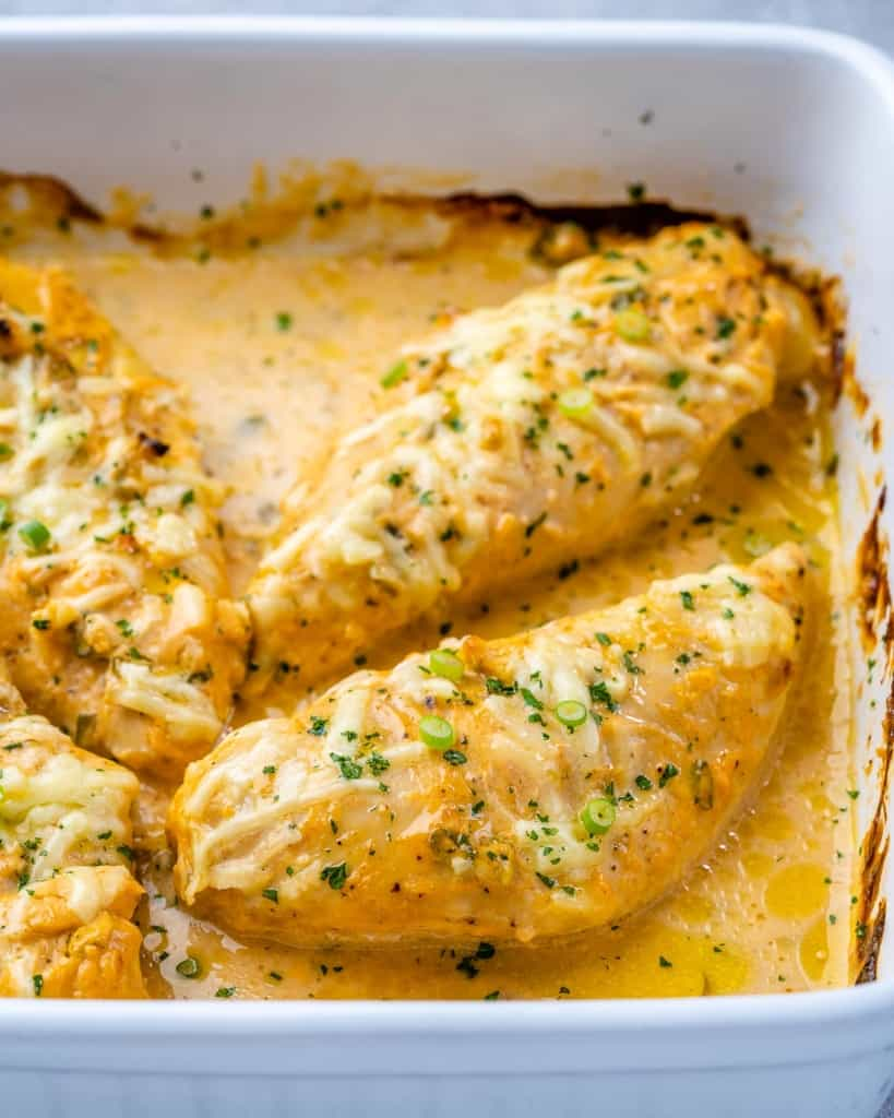 Front view of baked buffalo chicken