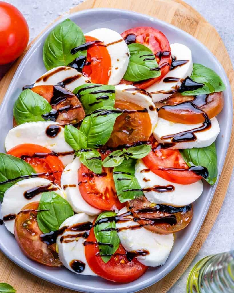 top view caprese salad on a plate