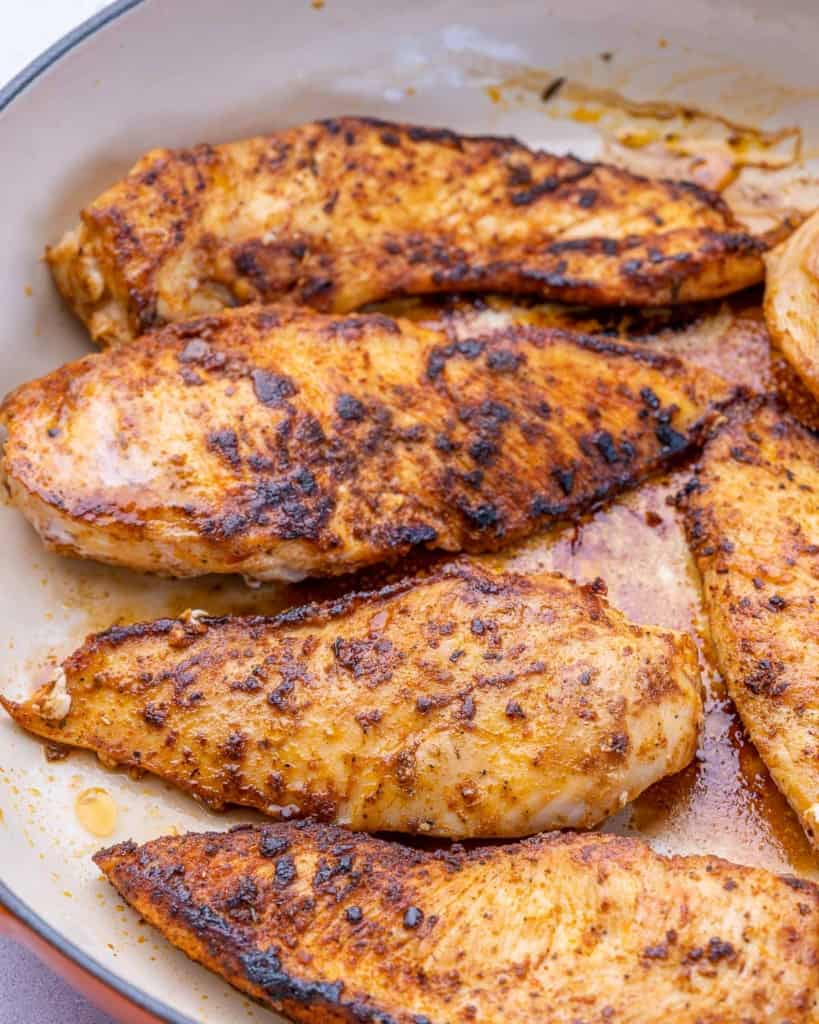 Cooked chicken in pan