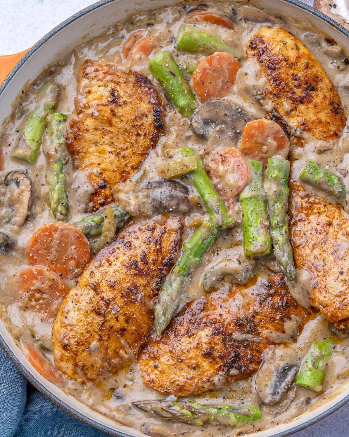 top view chicken fricassee in a pan