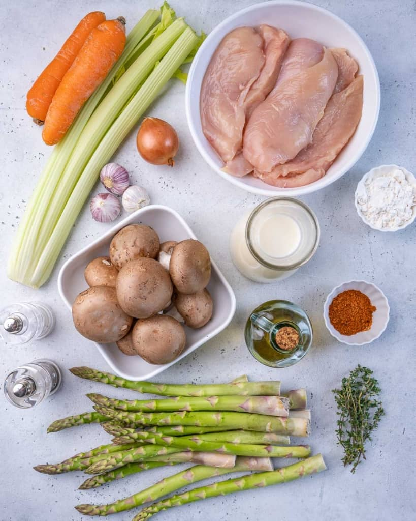 Asparagus, celery, carrots, mushrooms, salt, pepper, tomato, chicken, oil, herbs