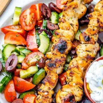 grilled souvlaki with vegetables and greek yogurt sauce
