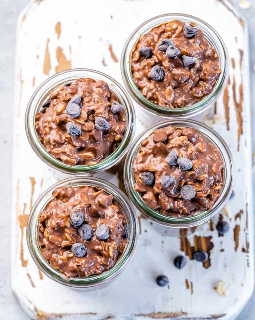 Four cups of overnight oats