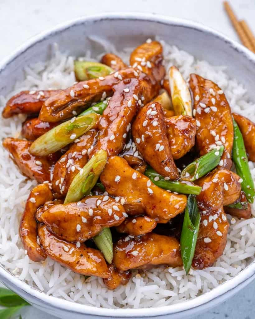 close up mongolian chicken stir fry