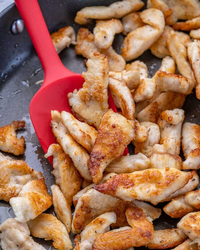 cooked chicken strips in apan