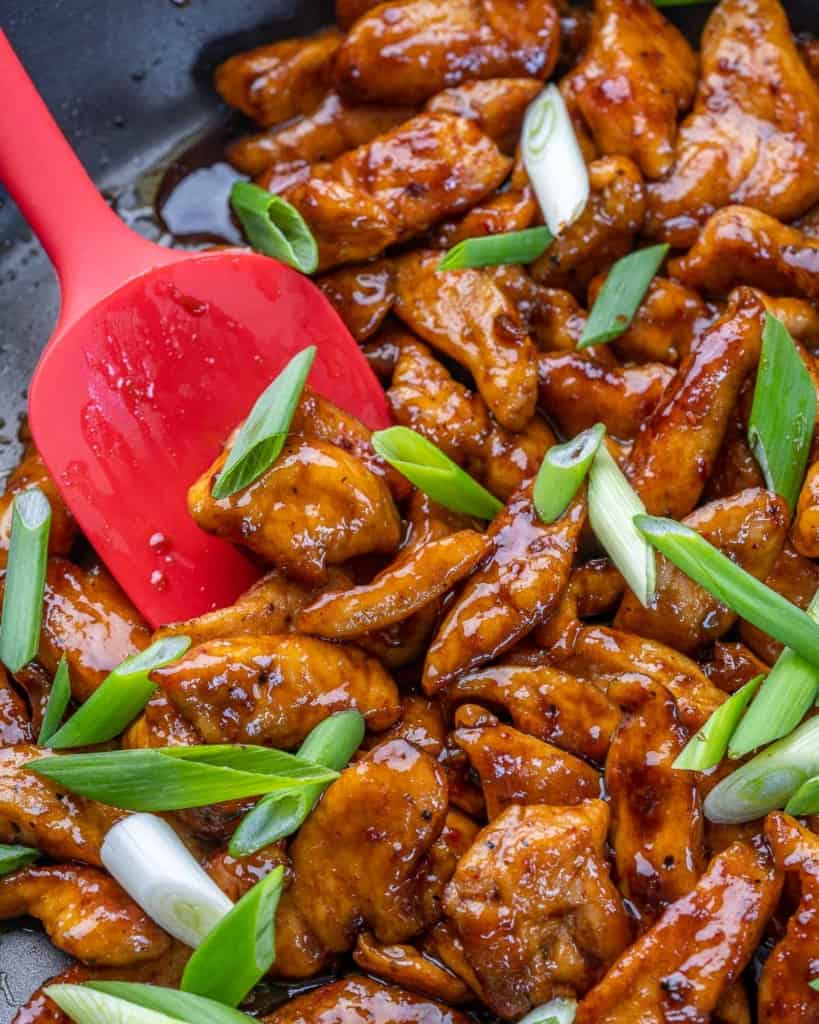 chicken and sauce cooked in pan with green onion garnish