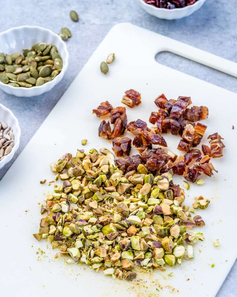 chopped date and pistachios