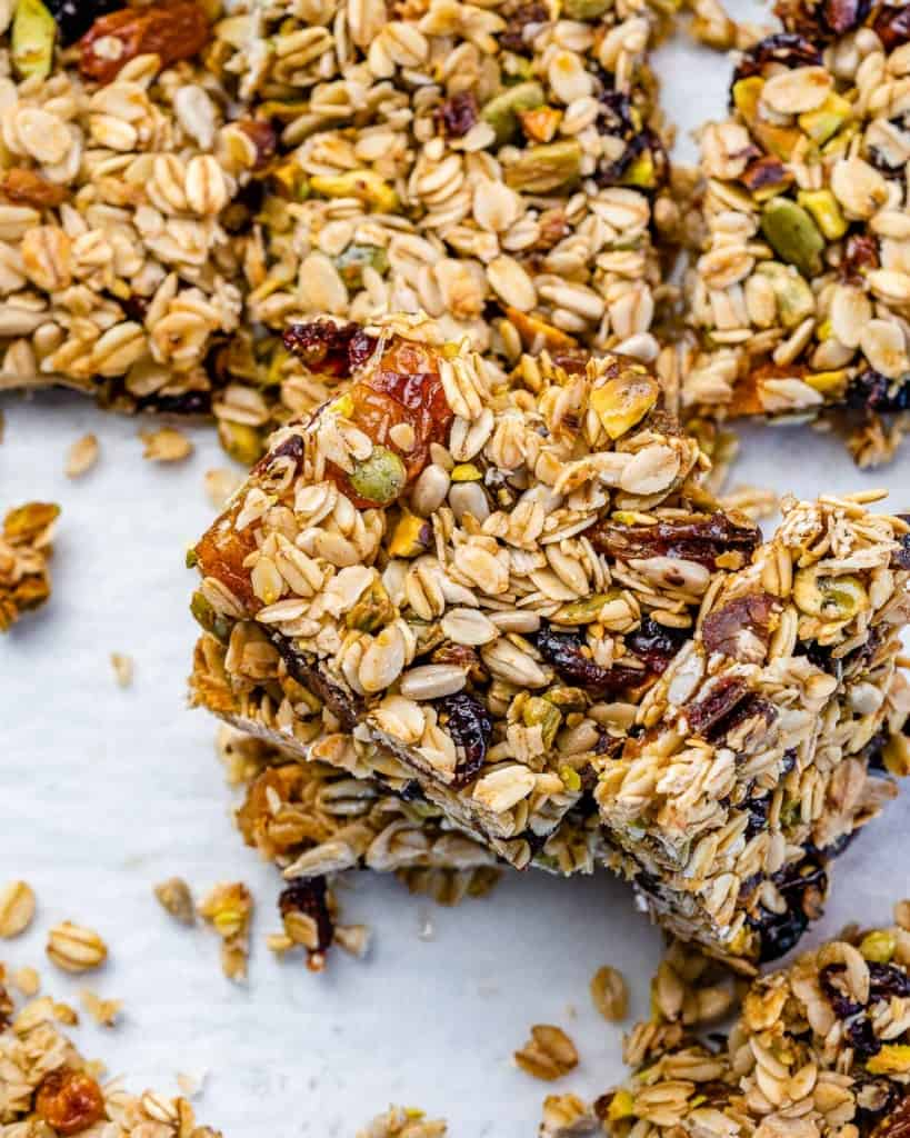 top view granola bars on a flat surface