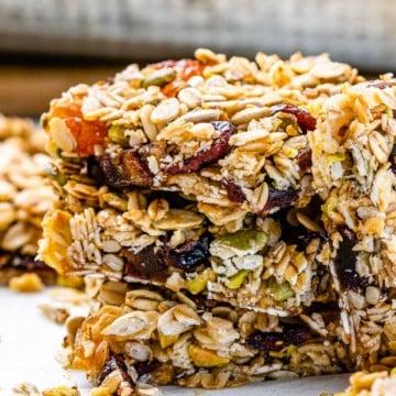side shot of oatmeal bars stack
