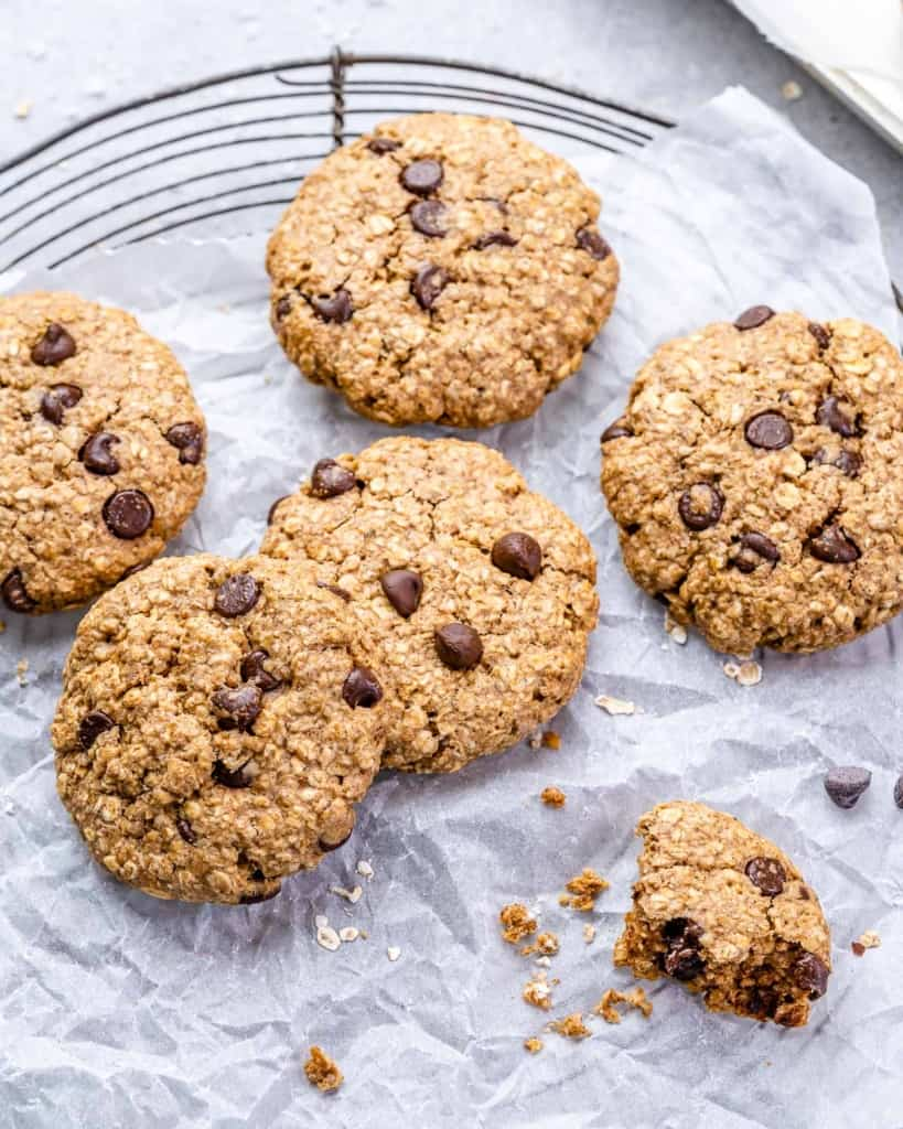 top view close up image of oatmeal chocolate chip cookies