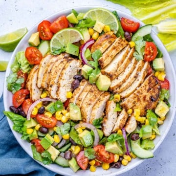 top view of southwest chicken salad in a white bowl