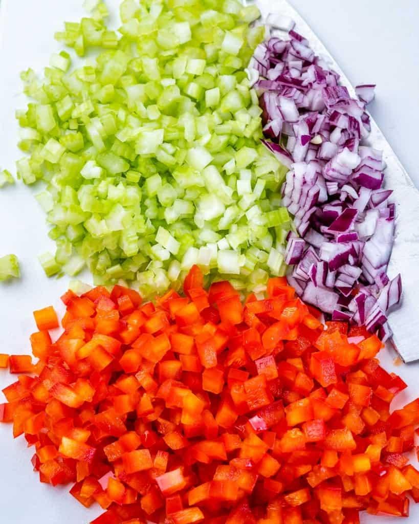 chopped veggies for the macaroni salad
