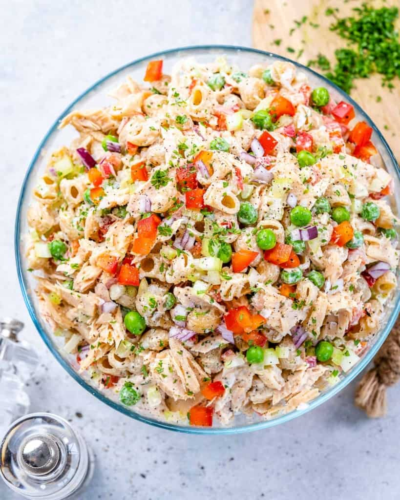 top view macaroni salad in a clear bowl