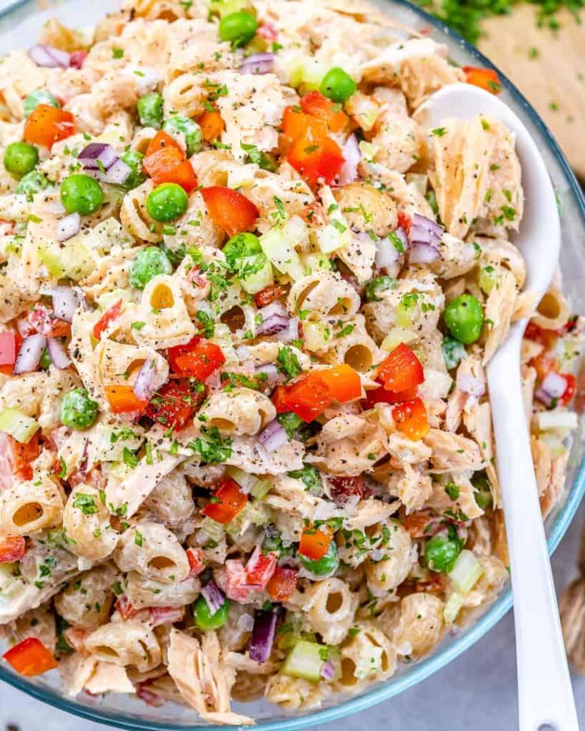 top view close up macaroni tuna salad