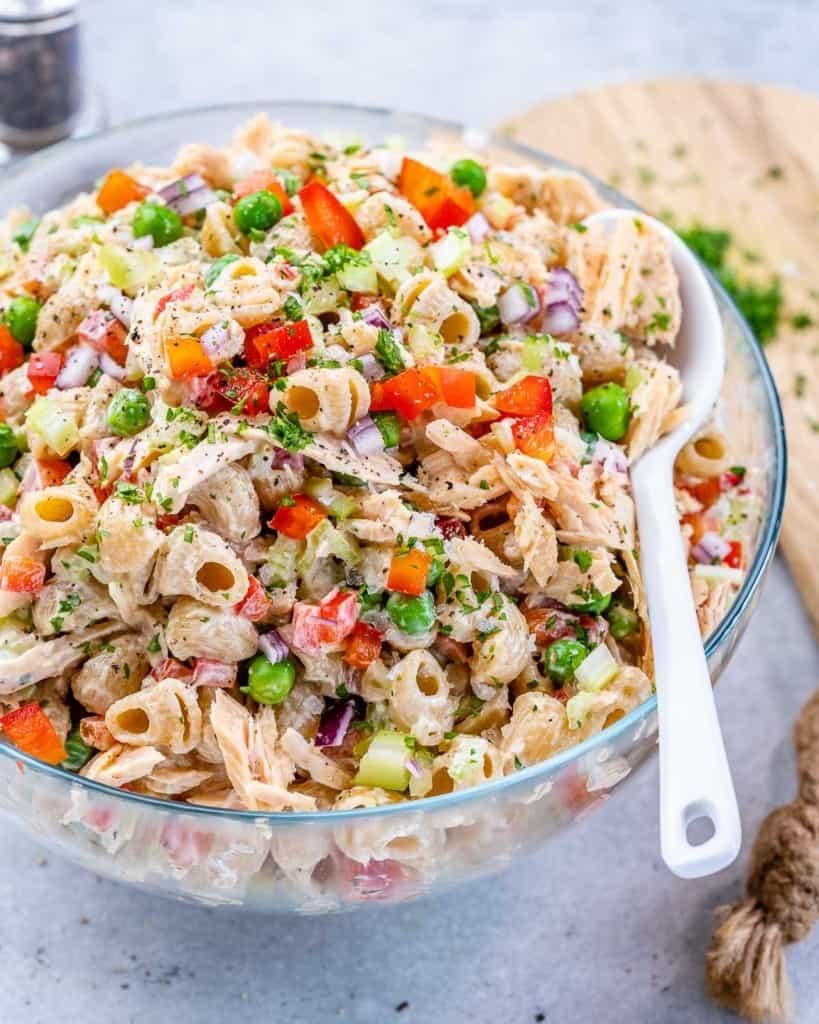 side shot of tuna macaroni salad with spoon in it
