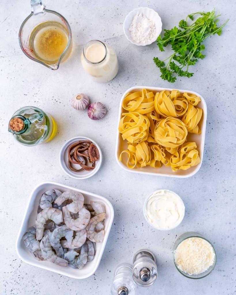 ingredients to make shrimp alfredo