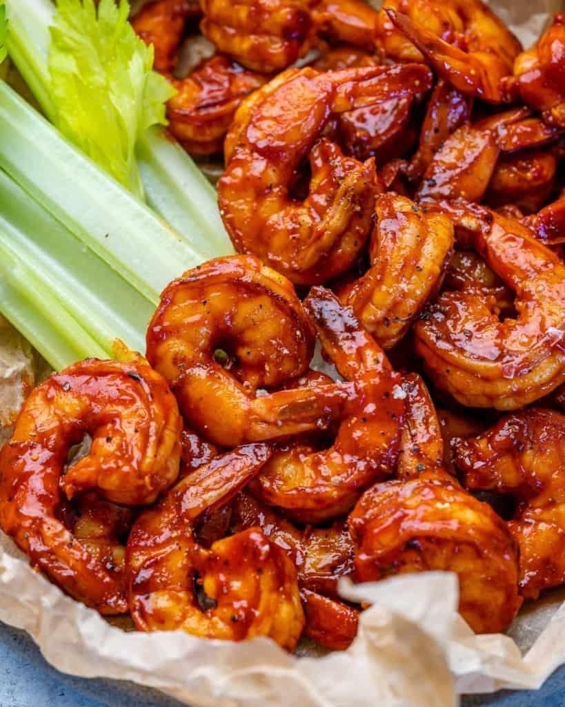 close up bbq shrimp in a bowl