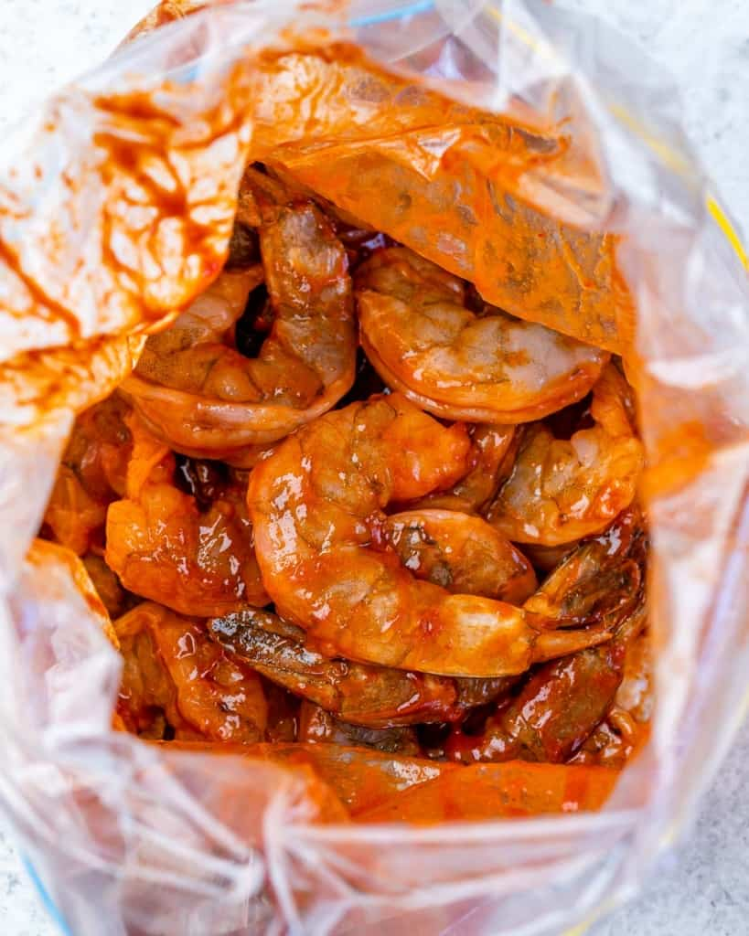 shrimp marinated with the bbq sauce in ziplock bag