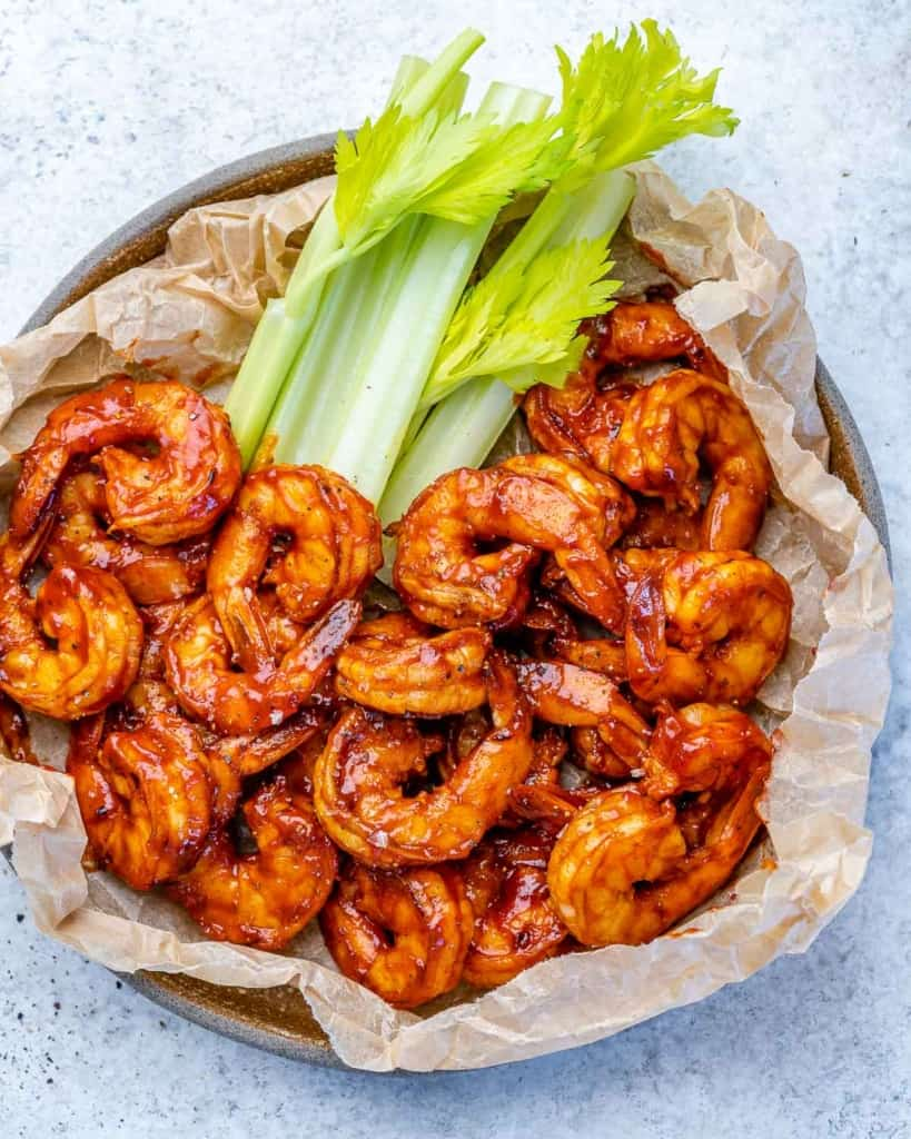 top view bbq shrimp on plate