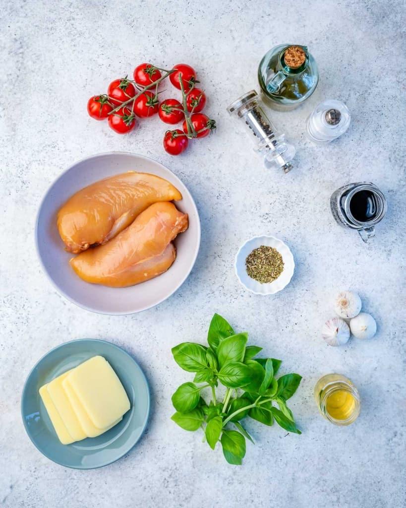 Top view of ingredients for chicken caprese
