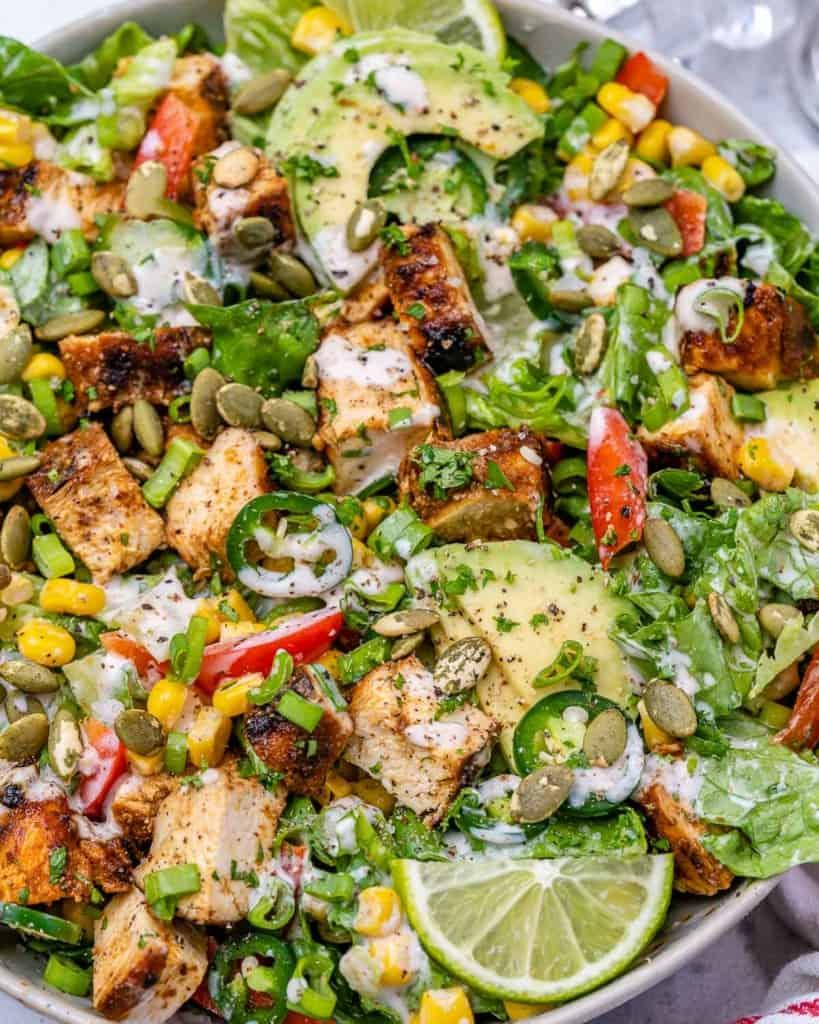 close up salad in bowl