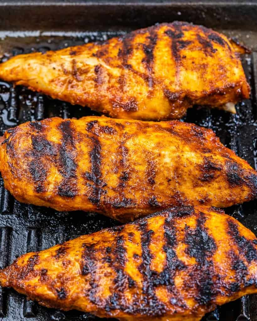 grilled chicken breast on a grilled pan