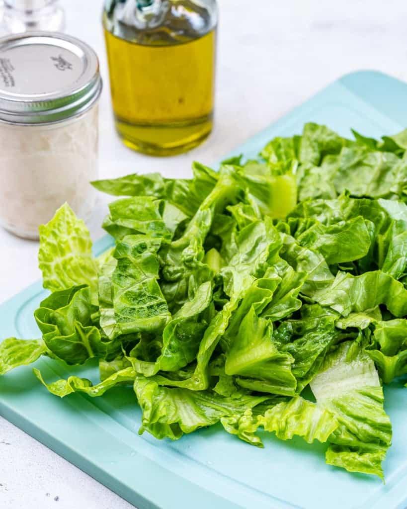 chopped romaine lettuce for salad