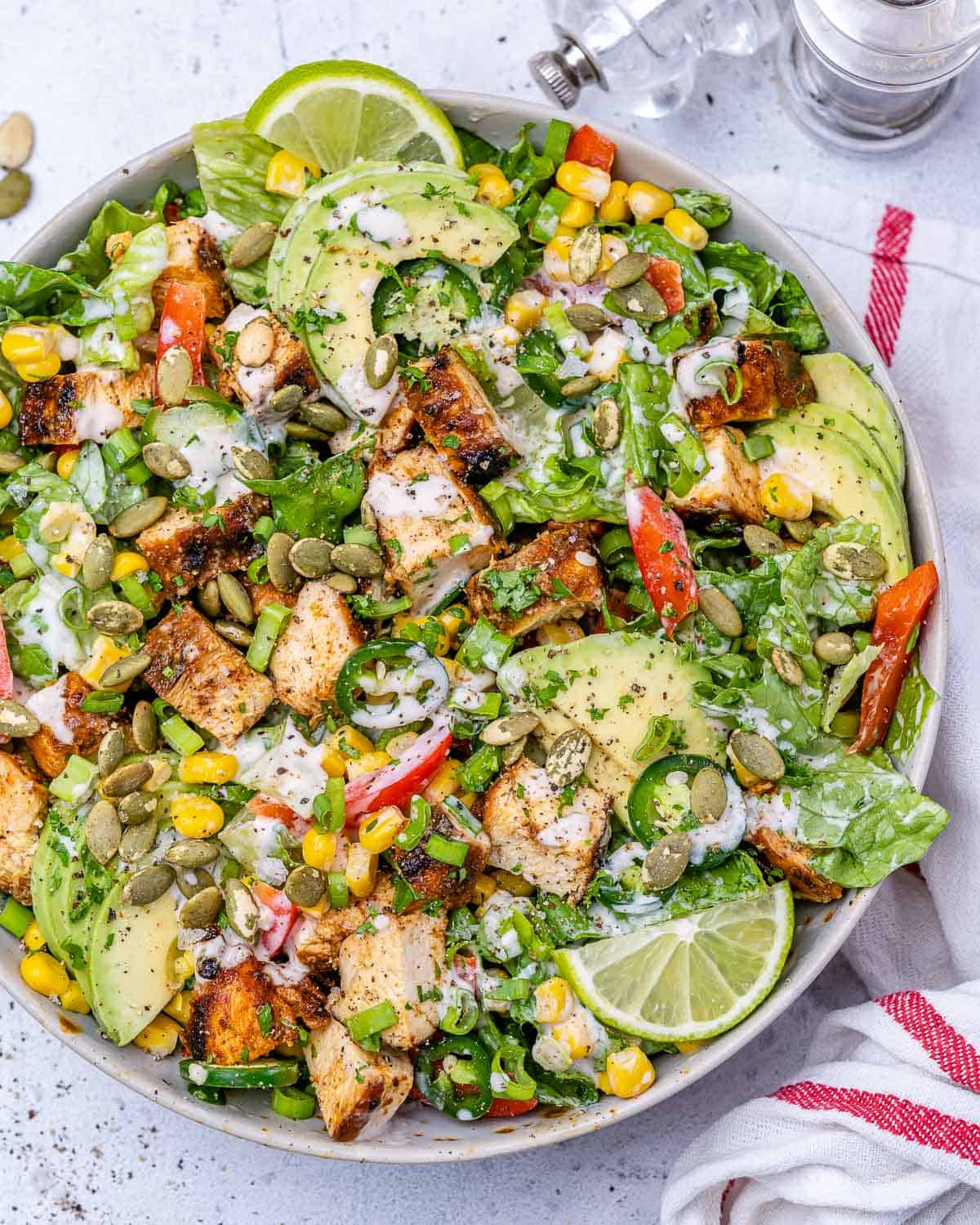 top view chopped grilled chicken salad