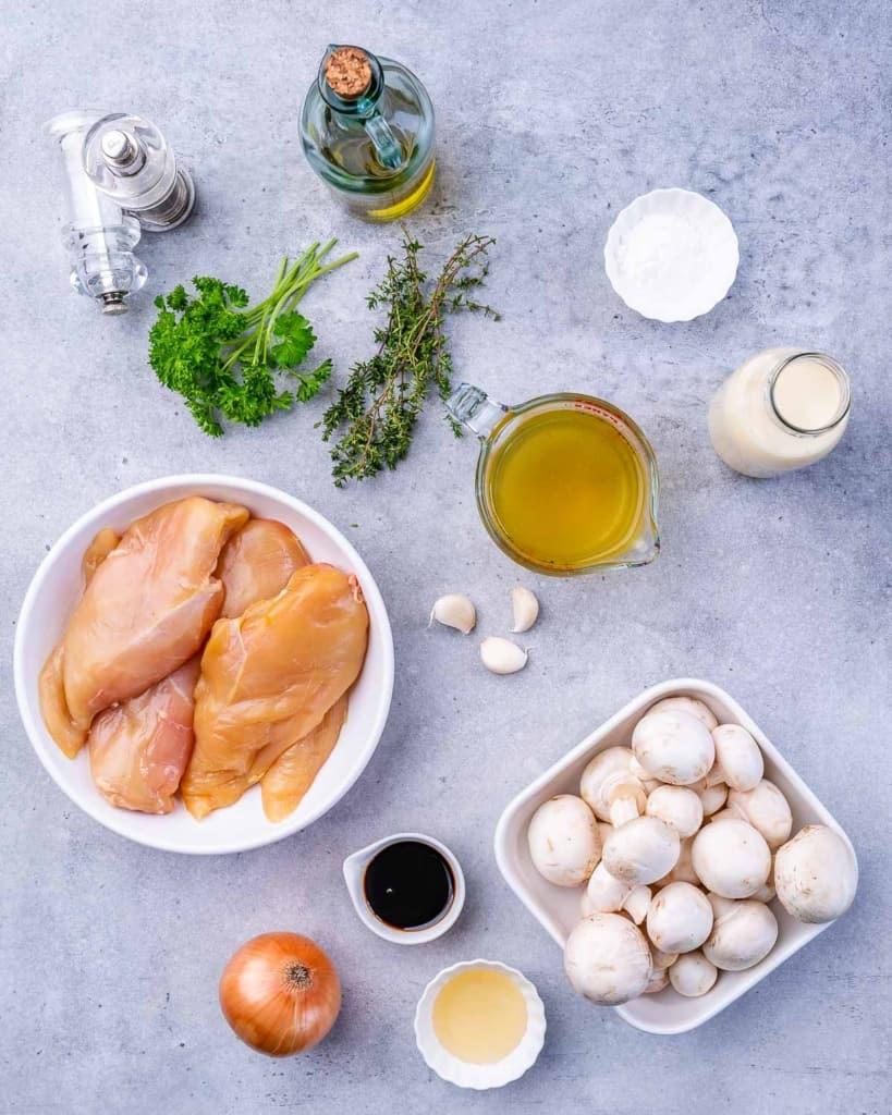 ingredients to make balsamic chicken skillet
