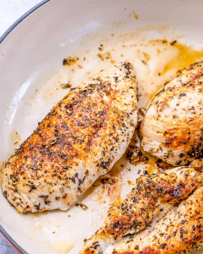 cooked chicken breast in a pan