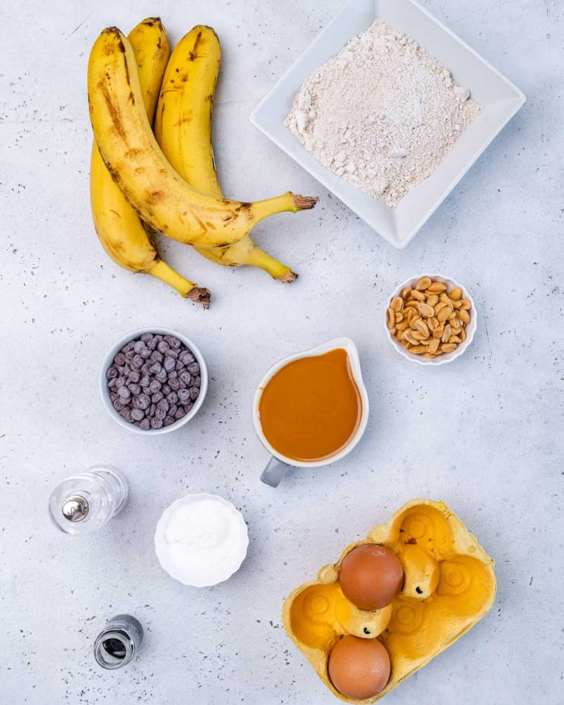 ingredients to make healthy peanut butter muffins