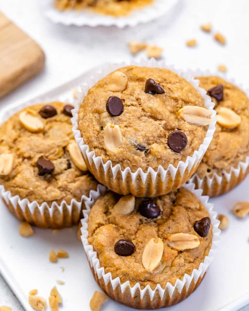 muffins stacked on one another on a plate