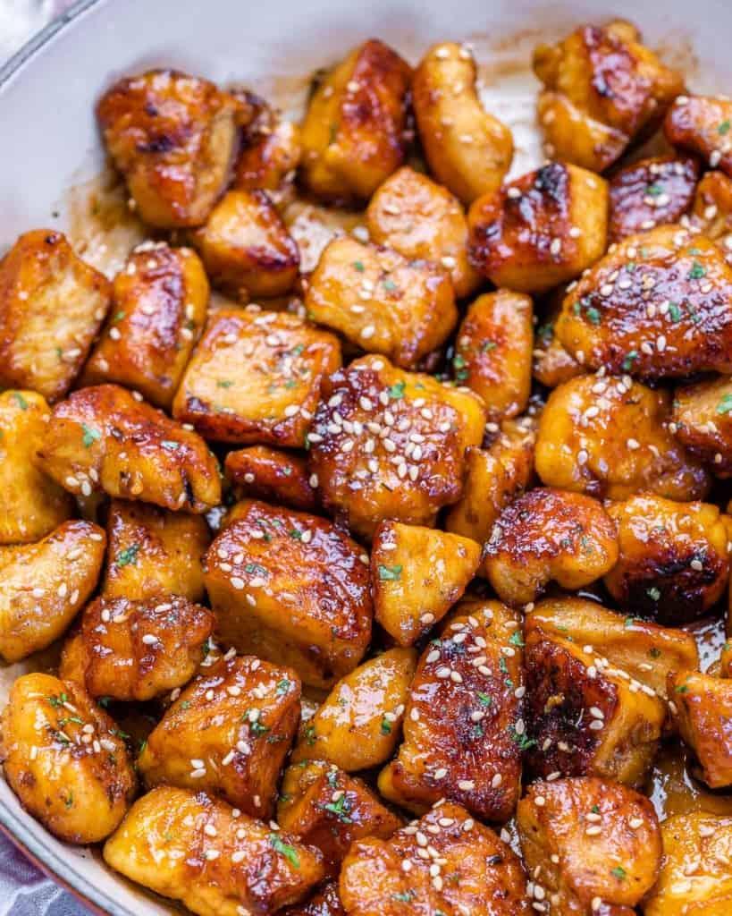 chicken bites in pan