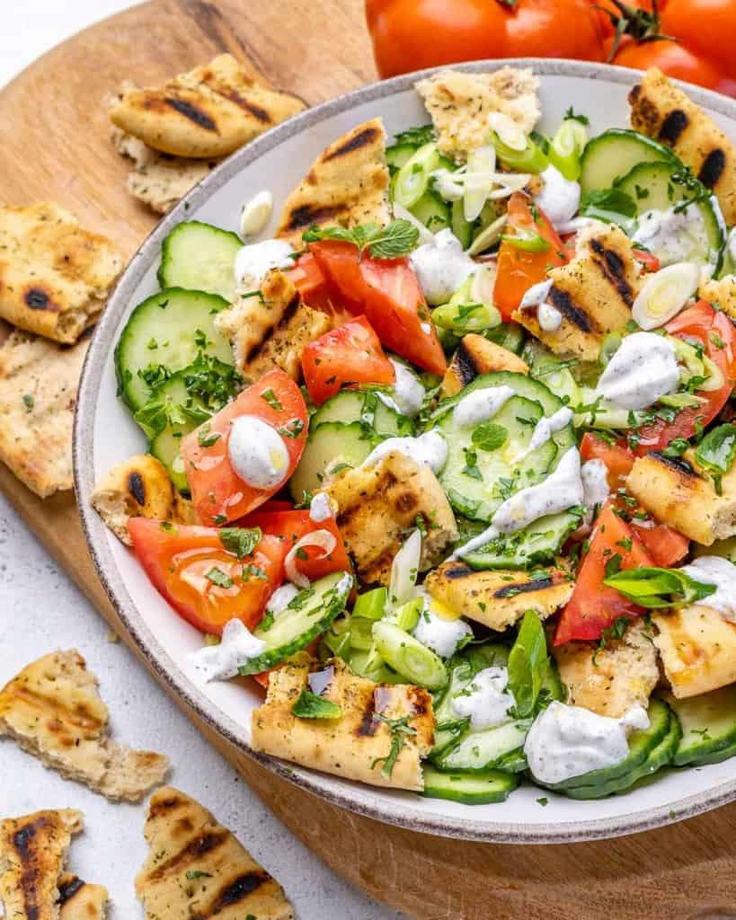 side shot of chopped Mediterranean salad