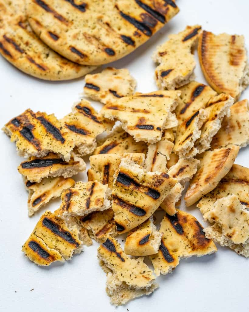 grilled and chopped naan bread